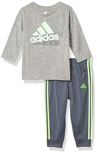 adidas Baby Boys' Li'l Sport Long Sleeve Tee & Jogger Clothing Set, Grey Heather Tricot, 9 Months