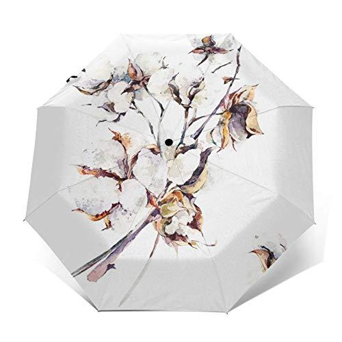 Regenschirm Taschenschirm Kompakter Falt-Regenschirm, Winddichter, Auf-Zu-Automatik, Verstärktes Dach, Ergonomischer Griff, Schirm-Tasche, Strauß Zweige Baumwolle