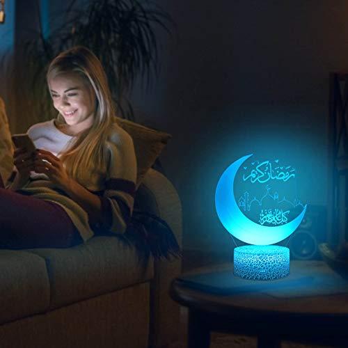 LED Eid Dekoration,Ramadan Mubarak,Ramadan Festival Dekoration Laternen,3D Tischlampe Desktop Ramadan Dekoration Licht,Mond Islamische Dekorati,Dekorationen Muslim,Mond Stern Nachtlichter dekoration