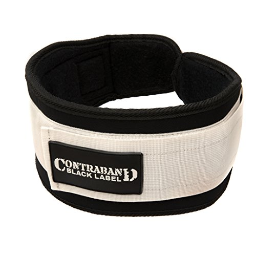 Contraband Black Label 4040 5in Foam Padded Weight Lifting Belt w/Hook & Loop - Perfect Heavy Duty Back Support for Weightlifting Bodybuilding Powerlifting - Men & Women (White, XX-Large)