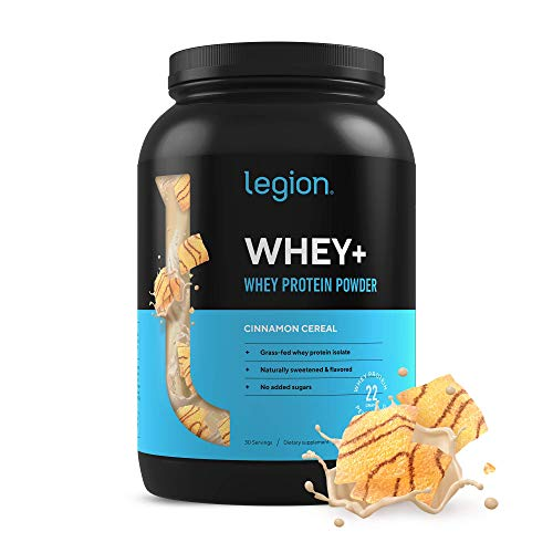 Legion Whey+ Whey Isolate Protein Powder from Grass Fed Cows - Low Carb, Low Calorie, Non-GMO, Lactose Free, Gluten Free, Sugar Free. Great For Weight Loss & Bodybuilding 30 Servings (Cinnamon Cereal)