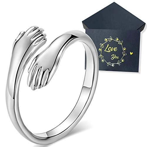 Sterling Silver Ring, Couple Hug Ring, Adjustable Rings Jewelry Gift for Women Men Couples, With Gift Box and Greeting card.