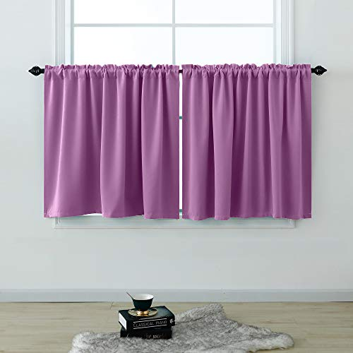 Purple Short Curtains 30 Inches Long for Bedroom Bathroom Decor Set 2 Panels Rod Pocket Cafe Tier Room Darkening Blackout Half Curtains for Girls Room Small Windows Light Lavender Lilac 52x30 Length