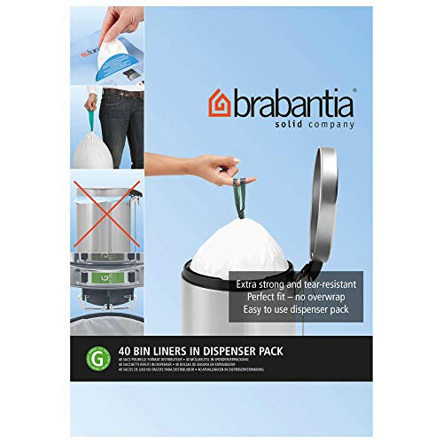 Brabantia Bin Liners, Size G, 23-30 L - 40 Bags