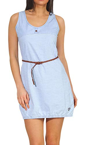 alife and Kickin DOJA D Dress Damen Sommerkleid, Jerseykleid, Strandkleid, Kleid, Light Denim Stripes, M