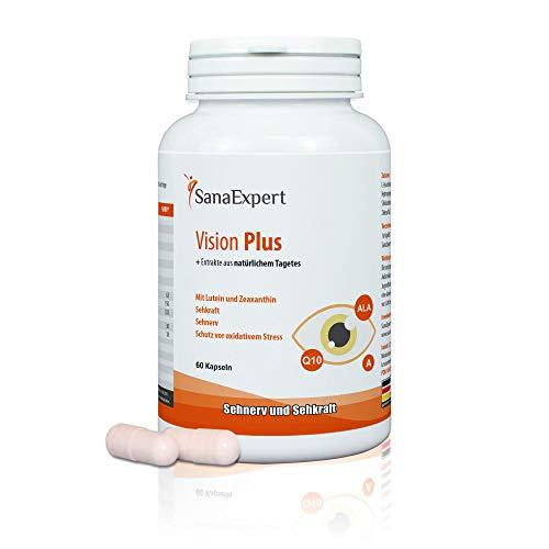SanaExpert Vision Plus para el nervio óptico, la vista y la salud ocular, con extracto de Tagetes, luteína, zeaxantina, coenzima Q10, vitaminas A y E, 60 cápsulas