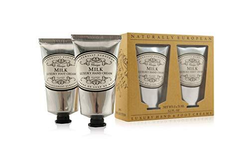 Naturally European Milk Luxury Hand And Foot Cream Gift Set 2 x 75ml | Hand Cream | Cuticle Cream | Intensive Foot Cream | Foot Repair Cream