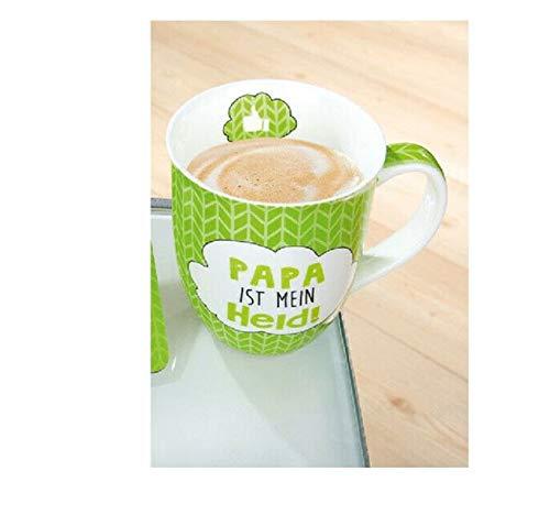 Tasse mit Spruch Papa | Große Kaffeetasse 400 ml | Becher Porzellan für Kaffee | Kaffeebecher Papa ist mein Held Grün | Lustige & Witzige Geschenk-Idee für Vater Weihnachten Geburtstag Vatertag