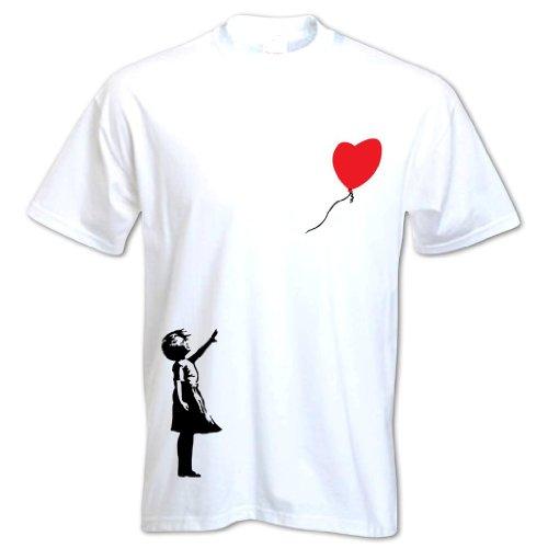 Herren T-Shirt Banksy Luftballon Mädchen Weiß XXL