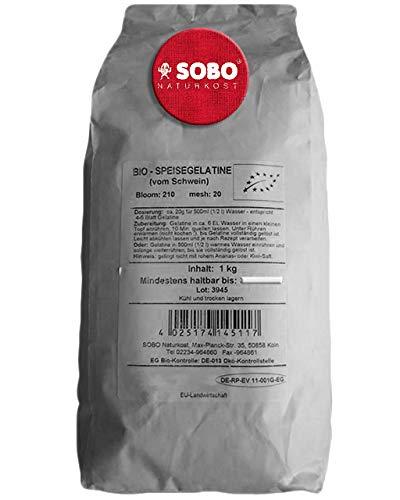 Polvo de Gelatina Orgánica Pura 1 kg SOBO | La Primera Gelatina en Polvo del Mundo - Gelatina de Cerdo Orgánica Pura en Polvo - Gelatina de Alimentos Orgánicos