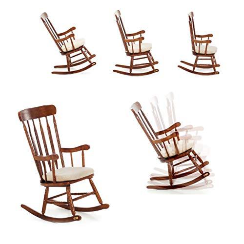Schaukelstuhl für ältere Menschen, aus Holz, Relax-Schaukelstuhl, gepolstert