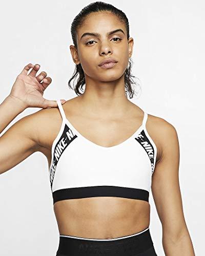 Nike Damen Indy Logo Sport-BH, White/Black/White, M