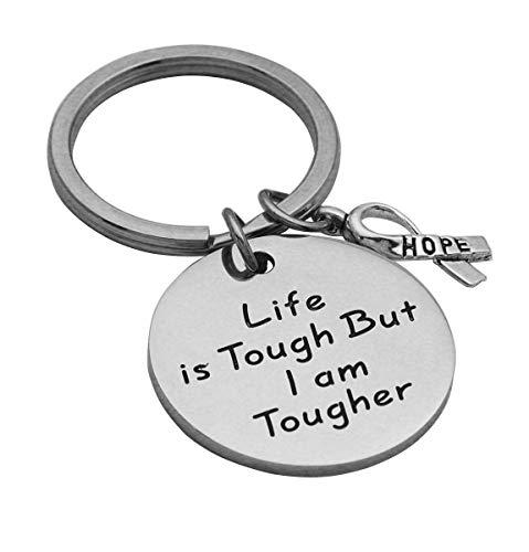 Beeshion Cancer Survivor Gift Life is Tough But I am Tougher Bangle Bracelet Inspirational Gift Recovery Jewelry Cancer Cancer Survivor Gift for Women Men (Life is Tough But I Am Tougher (Keychain))