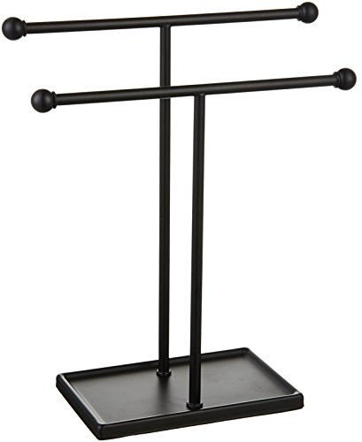 AmazonBasics Double-T Hand Towel Holder and Accessories Jewelry Stand, Black