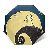 ナイトメアー 新版8本骨強化大型傘かわいい 折りたたみ傘 メンズ レディース、UV加工 超撥水 耐風設計 ワンタッチ自動開け、日傘 日焼け防止梅雨対策 台風対策折り畳み傘男女兼用