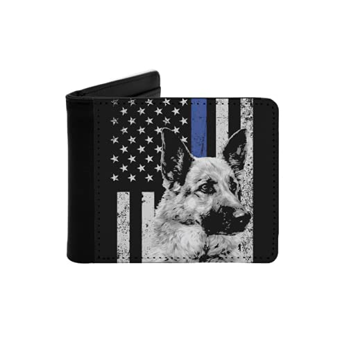 Cartera Delgada de Cuero para Hombre,Oficial American Flag Apparel USA Thin Blue Line Regalo,Cartera Minimalista con Bolsillo Frontal Plegable