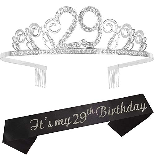 29th Birthday Gifts for Women, 29th Birthday Tiara and Sash, Happy 29th Birthday Party Supplies, 29th Sash and Tiara Birthday Crown for 29th Birthday Party Supplies and Decorations