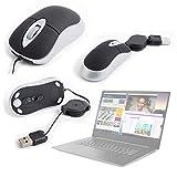 DURAGADGET Ergonómico Mini Ratón con Cable Retráctil para Portátil Lenovo ideapad 330-15IKBR, Lenovo ideapad 530S-14IKB, Schneider SCL141CTP Ultrabook, Winnovo V146 Notebook - con Conexión USB