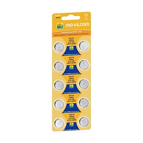 MovilCom® - Pila Botón AG10 Pilas Reloj 1.5V Equivalente a L1130, LR1130, L1131, LR1131, LR54, 389, 389, SR1130W, V389, 389, D389, S1131E, 626, M, 280-15, SB-BU, SR54