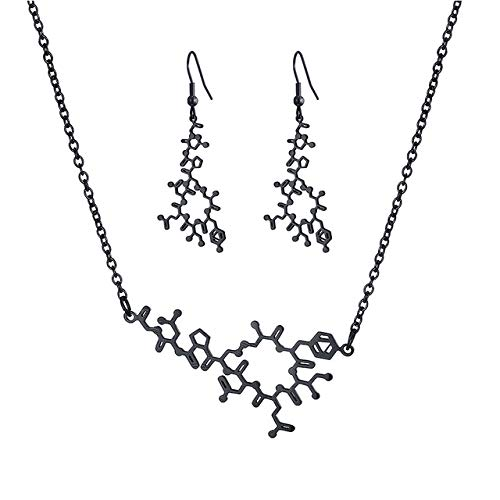 KBWL Chemie Struktur Wissenschaft Frauen Anhänger Edelstahl Ohrring Halskette Schmuck Set Oxytocin Molekül Choker Halskette 14,5 verlängern 3 Zoll EIN Satz schwarz