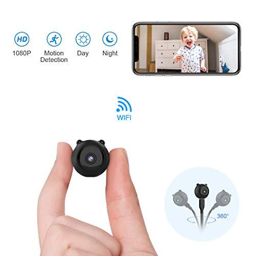 Mini Cámara Espía Oculta AOBO 1080P HD WiFi Cámara Portátil con Visión Nocturna y Conexión Remota Desde iPhone/Android Phone/iPad/PC Camaras IP de Seguridad Interior/Exterior