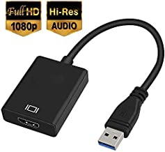 Adaptador USB a HDMI, USB 3.0/2.0 a HDMI 1080P Full HD (Macho a Hembra) Convertidor de vídeo y Audio multipantalla Compatible con Windows 7/8/10
