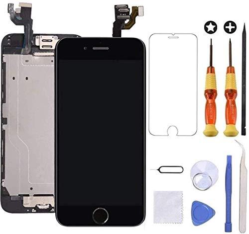 Brinonac Für iPhone 6 Plus Display LCD Touchscreen Kompletter Ersatz Bildschirm Vorinstallierte Frontkamera Hörmuschel Lautsprecher Näherungssensor mit Werkzeug (Schwarz)