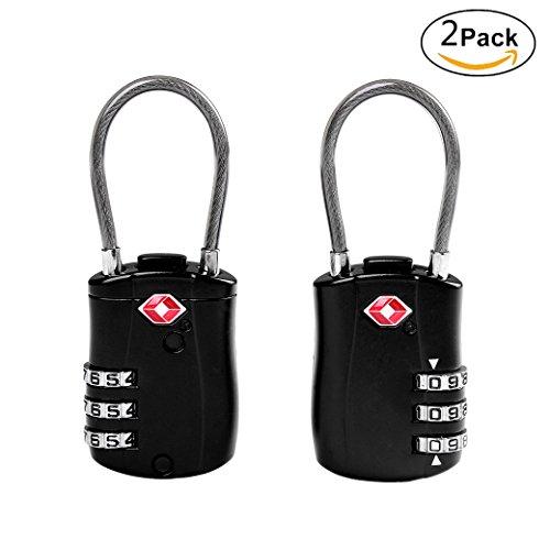 ISIYINER Candados de código de seguridad con combinaciones de 4 dígitos para maleta de gimnasio, caja de herramientas, gabinete, cobertizo y equipaje Tsa Negro