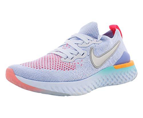 Nike Kids' Grade School Epic React Flyknit 2 Running Shoes (5, Aluminum/Racer Pink)