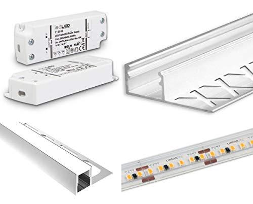 LED Beleuchtung für SLOTFIX® Wandnische Aluminiumprofil Komplett-Set | 3000K warmweiss IP68 Bad Dusche Wohnraum Geschäftsraum Laden | inkl. Trafo für 230V