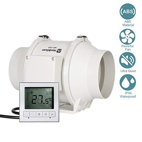 Ventilator 125mm - HG POWER Einstellbarer Abluftventilator mit Drehzahlregler Einschaltverzögerung Temperatur Rohrventilator Leise Kanalventilator Badlüfter Rohrlüfter für Belüftung, Entfeuchtung