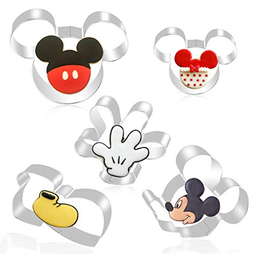 FHzytg 5 Stück Mickey Mouse Ausstecher, Mickey Mouse Tortendeko Disney Geschenke Erwachsene Disney Backform Disney Ausstecher, Micky Maus Keksausstecher für Disney Ausstechformen Geschenke