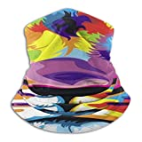 Yuanmeiju Enveloppe de tête, tigres dans des peintures à l'huile, foulard de cou, bandeaux confortables 12 en 1 pour motocyclide Skiing Fishing, 26x30cm