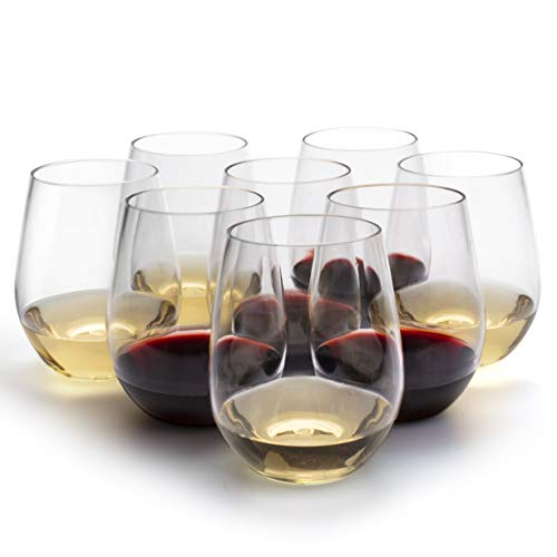 Unbreakable Wine Glasses - 100% Tritan - Shatterproof, Reusable, Dishwasher Safe (Set of 8 Stemless)...