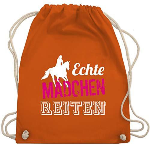 Shirtracer Reitsport - Echte Mädchen reiten - Unisize - Orange - echte mädchen reiten tasche - WM110 - Turnbeutel und Stoffbeutel aus Baumwolle
