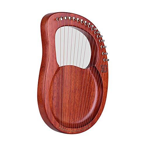 Muslady Lyre Harp 16-Saitig Hölzern Metallsaiten Mahagoni Massivholz Saiteninstrument mit Tragetasche Stimmschlüssel Putztuch Saiten WH16 Walter.t