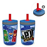 Zak Designs Kelso Tumbler 2pc Set, Leak-Proof Screw-On Lid with Straw Made of Durable Plastic and Silicone, Perfect Bundle for Kids, 15 oz, PJ Masks Catboy Owlette Gekko