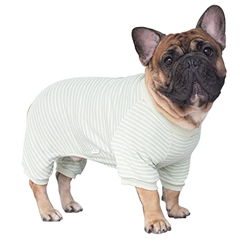 iChoue 100% Cotton Dog Pajamas Onesie Suit PJS Bodysuit for Medium Sized Dog French Bulldog Frenchie Pug English Pitbull Boston Terrier Lemon Green- M