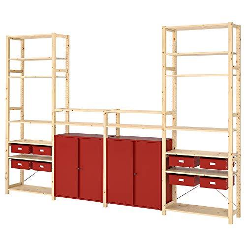 Estantería IVAR con armarios y cajones 344x30x226 cm pino/rojo