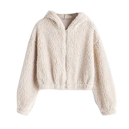 WOZOW Pull Pullover Hoodie T-Shirt à Capuche en Laine Manches Longues Sweat Femme Flanelle Chaud Polaire Poche Hiver Sweatshirt Grande Taille Outerwear(Beige,M)