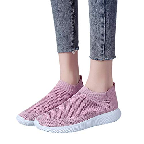 Behkiuoda Women Outdoor Sneakers Mesh Solid Color Sports Shoes Running Breathable Shoes Pink