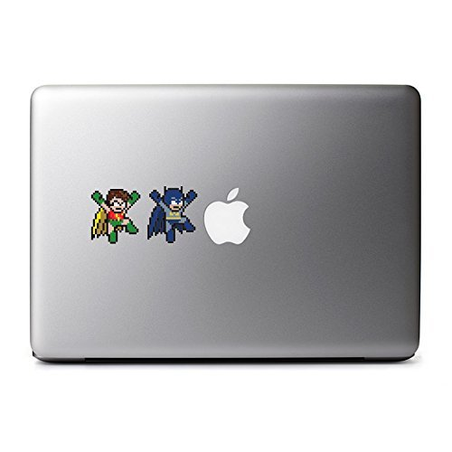 Retro 8-Bit Batman and Robin Decals for MacBook Pro, iPad, iPhone 11, iPhone Xs Max, iPhone 7 Plus, iPhone 6 Plus, iPhone 8, PC, Samsung, Sony