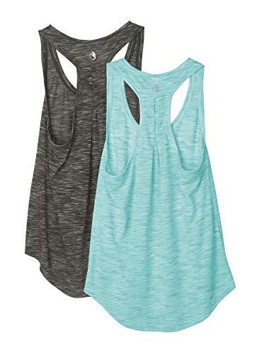 icyzone Damen 2er Pack Yoga Tank Top Atmungsaktive Workout Jogging Shirt Racerback Casual Oberteil (S, Dunkelgrau/Pfefferminz grün)