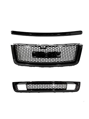 Gldifa Compatible with 2007-2013 GMC Sierra 1500 Denali Black ABS Top+Upper+Lower Bumper Mesh Grille