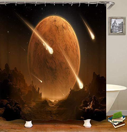 Fantasía Planet Stone que fluye estrellas, impresión 3D HD no se desvanece, poliéster impermeable ducha