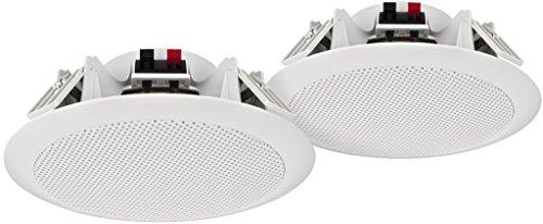 MONACOR SPE-264/WS wetterfestes ELA Deckenlautsprecher-Paar mit 2-Wege System und Kalottenhochtönern, Deckeneinbau-Lautsprecher temperaturfest bei bis zu 100 Grad Celsius, in Weiß