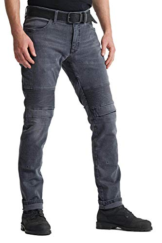 Pando Moto Kar Lead Men's Motorcycle Jeans with Cordura and Kevlar CE Approved Lining Slim Fit Motorbike Trousers