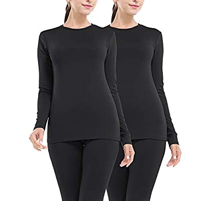 MANCYFIT Thermal Underwear for Women Long Johns Set Fleece Lined Ultra Soft 2 Pack Black x2 Large