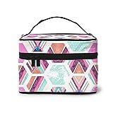 DJNGN Bolsa de Maquillaje Hexagon Geometric Portable Travel Cosmetic Bag Organizador Estuche multifunción con Doble Cremallera Neceser para Mujer (9 'x6.2' x6.5 ')