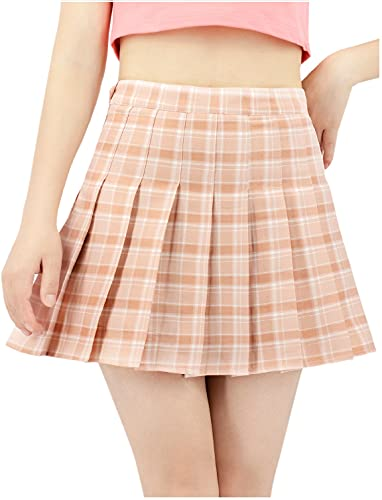 DAZCOS US Size 0-22 Plaid Skirt High Waist Japan Uniform Style with Shorts for Women (Small, Lightpink)